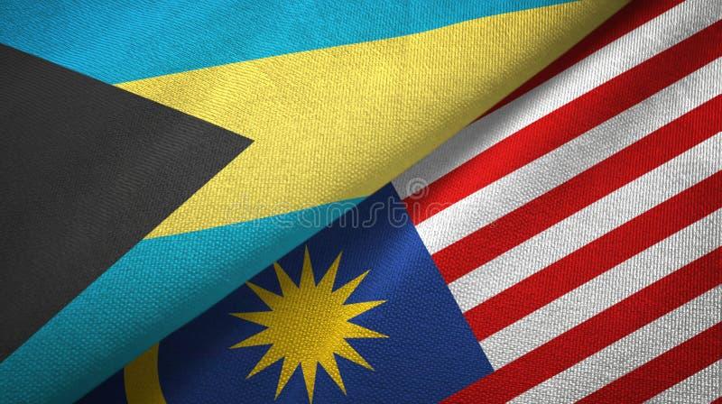 Torkduk för Bahamas och Malaysia två flaggatextil, tygtextur vektor illustrationer