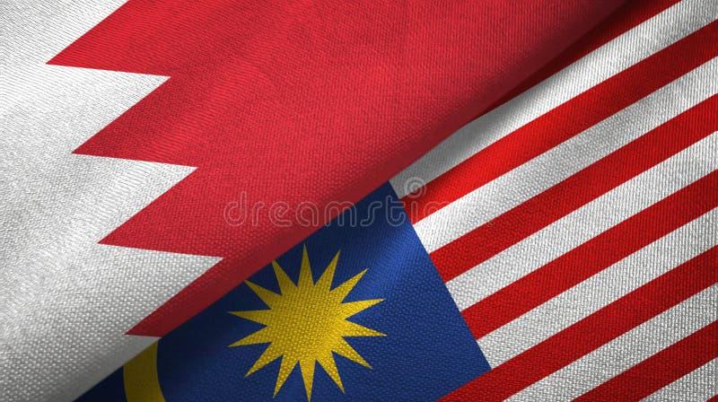Torkduk för Bahrain och Malaysia två flaggatextil, tygtextur stock illustrationer