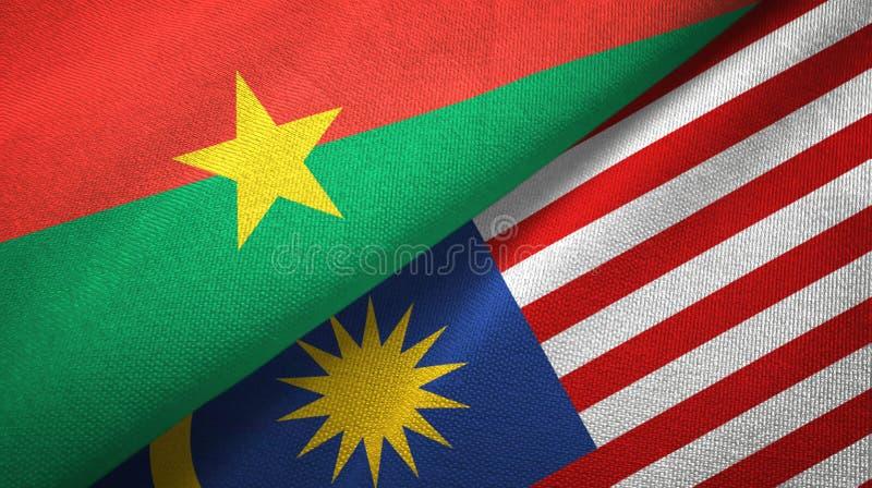 Torkduk för Burkina Faso och Malaysia två flaggatextil, tygtextur stock illustrationer