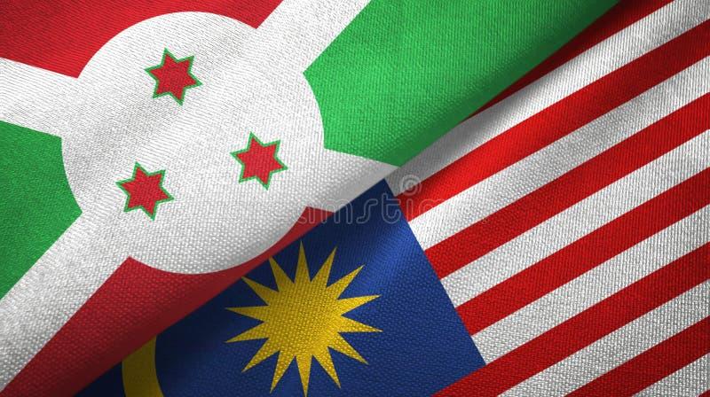 Torkduk för Burundi och Malaysia två flaggatextil, tygtextur stock illustrationer