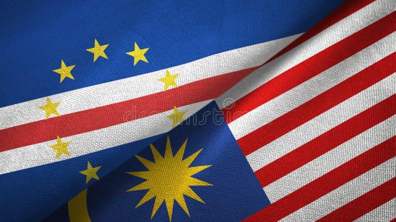 Torkduk för Cabo Verde och Malaysia två flaggatextil, tygtextur royaltyfri illustrationer