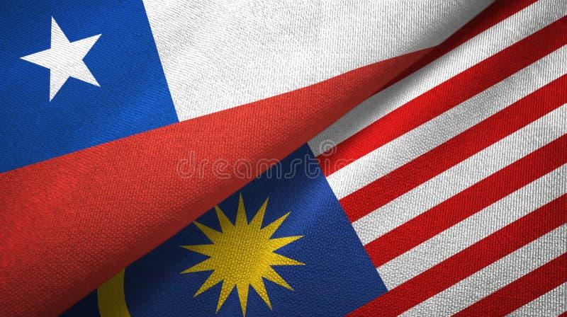 Torkduk för Chile och Malaysia två flaggatextil, tygtextur stock illustrationer