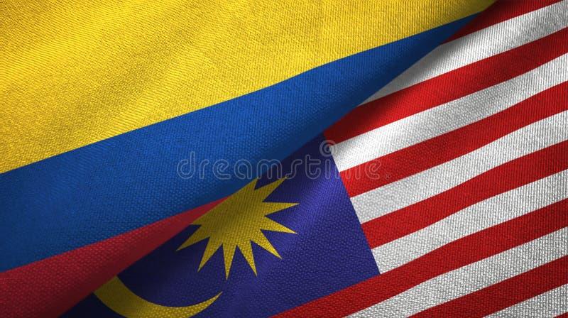 Torkduk för Colombia och Malaysia två flaggatextil, tygtextur stock illustrationer