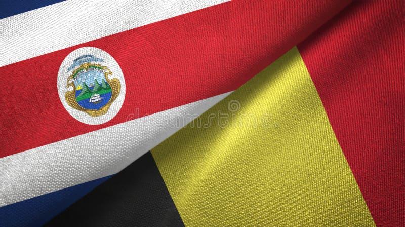 Torkduk f?r Costa Rica och Belgien tv? flaggatextil, tygtextur royaltyfri illustrationer