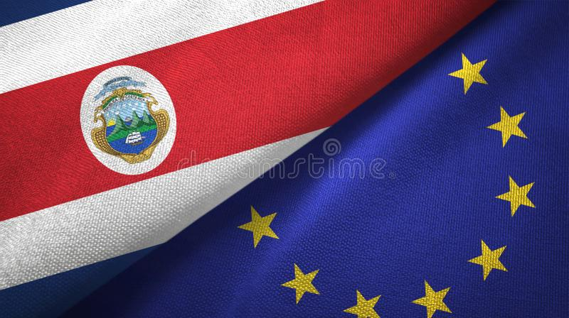Torkduk f?r Costa Rica och f?r europeisk union tv? flaggatextil, tygtextur stock illustrationer