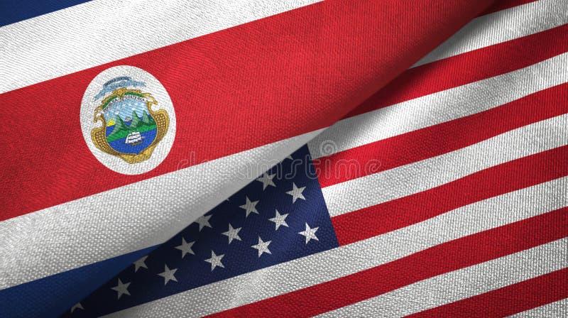 Torkduk f?r Costa Rica och f?r F?renta staterna tv? flaggatextil, tygtextur vektor illustrationer