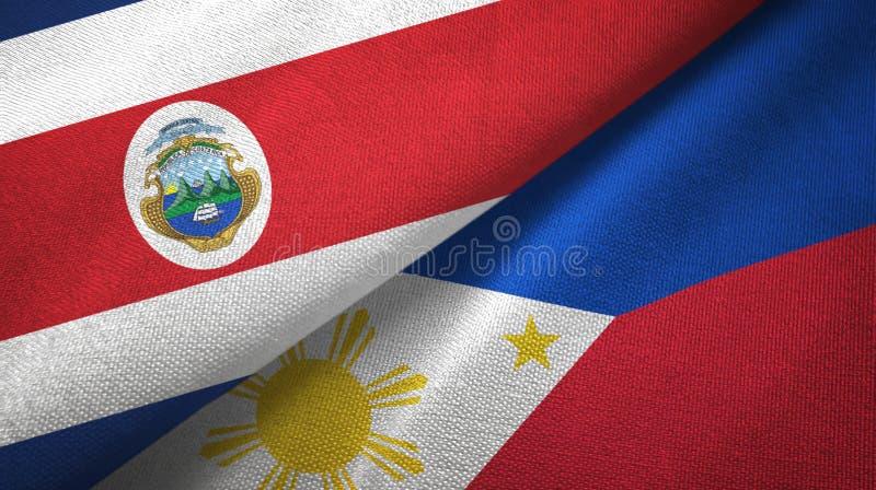 Torkduk f?r Costa Rica och f?r Filippinerna tv? flaggatextil, tygtextur stock illustrationer