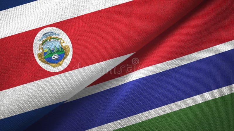 Torkduk f?r Costa Rica och Gambia tv? flaggatextil, tygtextur stock illustrationer