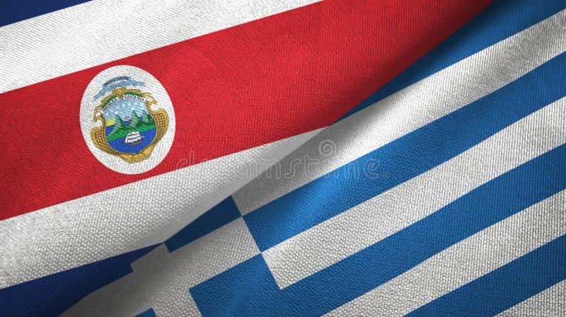 Torkduk f?r Costa Rica och Grekland tv? flaggatextil, tygtextur vektor illustrationer
