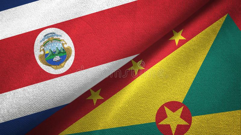 Torkduk f?r Costa Rica och Grenada tv? flaggatextil, tygtextur vektor illustrationer