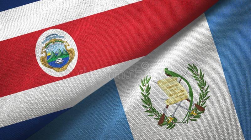 Torkduk f?r Costa Rica och Guatemala tv? flaggatextil, tygtextur royaltyfri illustrationer