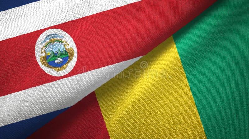Torkduk f?r Costa Rica och Guinea tv? flaggatextil, tygtextur royaltyfri illustrationer