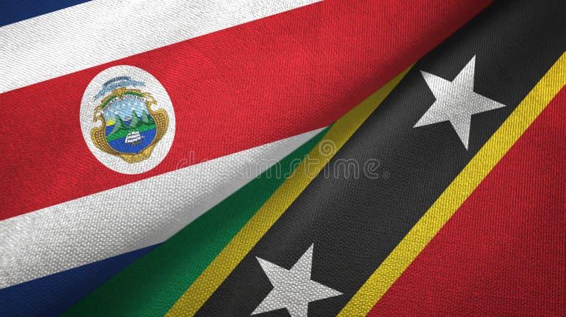 Torkduk f?r Costa Rica och f?r helgon Kitts och Nevis tv? flaggatextil, tygtextur stock illustrationer