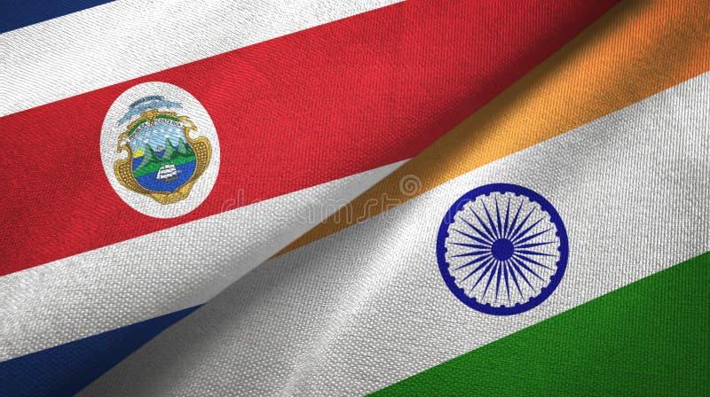 Torkduk f?r Costa Rica och Indien tv? flaggatextil, tygtextur stock illustrationer