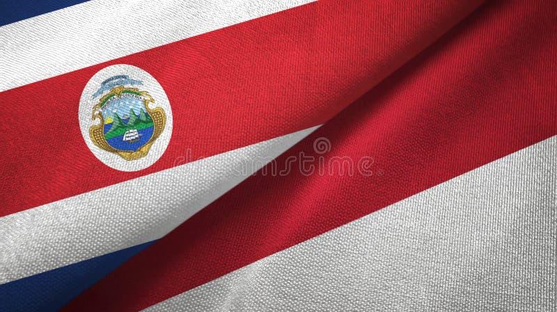 Torkduk f?r Costa Rica och Indonesien tv? flaggatextil, tygtextur vektor illustrationer