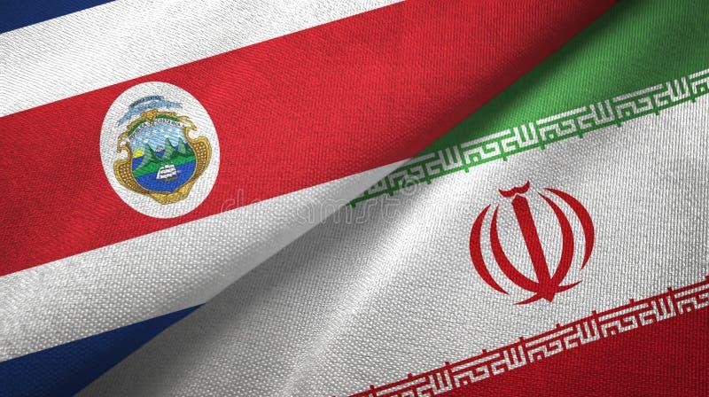 Torkduk f?r Costa Rica och Iran tv? flaggatextil, tygtextur vektor illustrationer