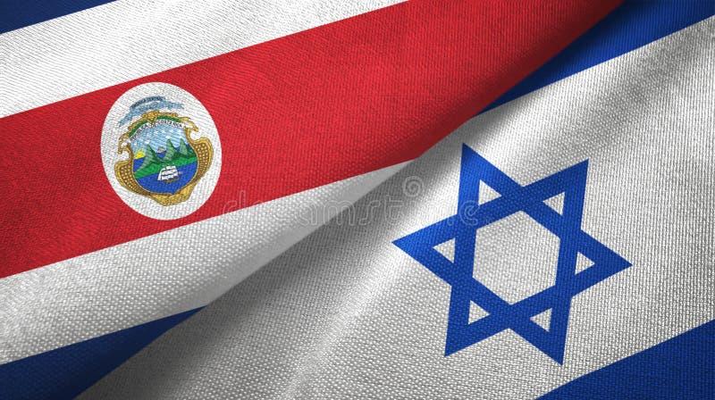 Torkduk f?r Costa Rica och Israel tv? flaggatextil, tygtextur stock illustrationer