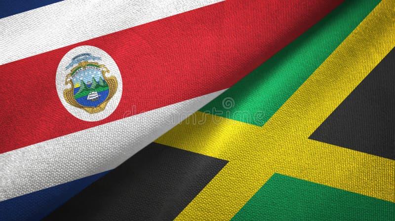 Torkduk f?r Costa Rica och Jamaica tv? flaggatextil, tygtextur vektor illustrationer
