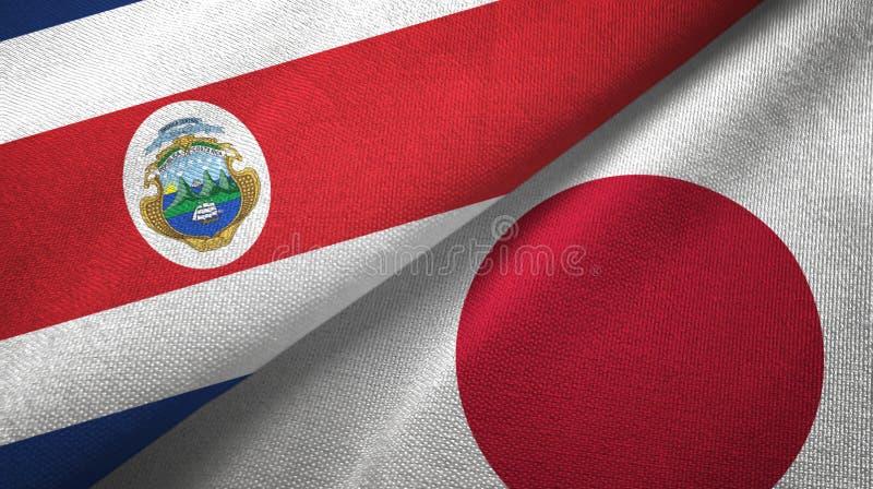 Torkduk f?r Costa Rica och Japan tv? flaggatextil, tygtextur stock illustrationer