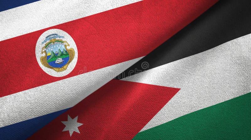 Torkduk f?r Costa Rica och f?r Jordanien tv? flaggatextil, tygtextur stock illustrationer