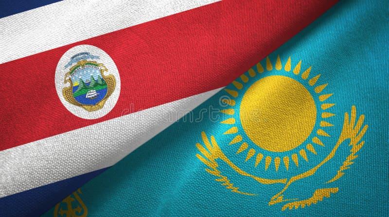 Torkduk f?r Costa Rica och Kasakhstan tv? flaggatextil, tygtextur stock illustrationer