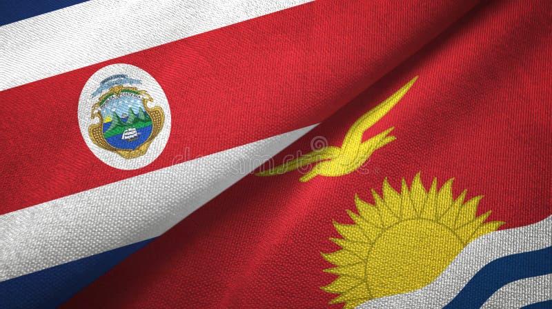 Torkduk f?r Costa Rica och Kiribati tv? flaggatextil, tygtextur vektor illustrationer