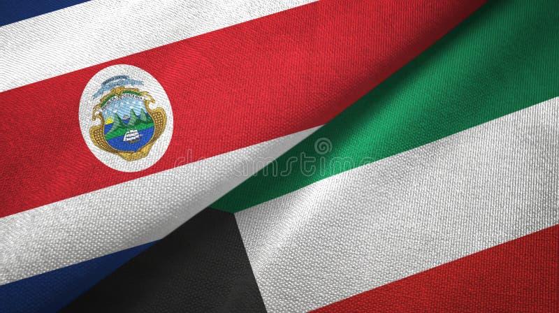 Torkduk f?r Costa Rica och Kuwait tv? flaggatextil, tygtextur vektor illustrationer