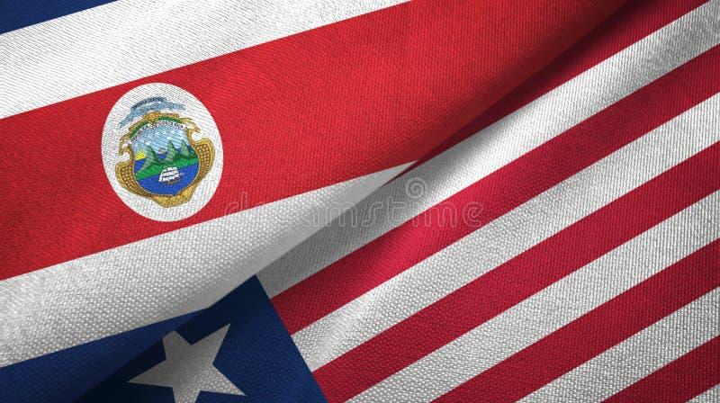 Torkduk f?r Costa Rica och Liberia tv? flaggatextil, tygtextur vektor illustrationer