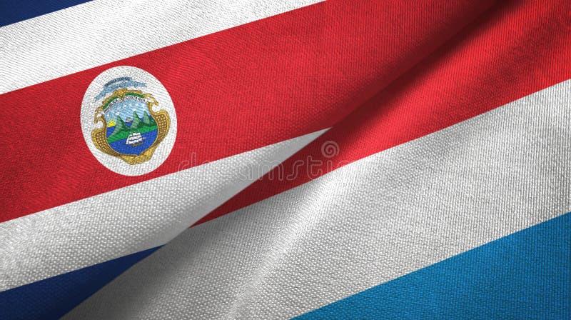 Torkduk f?r Costa Rica och Luxembourg tv? flaggatextil, tygtextur stock illustrationer