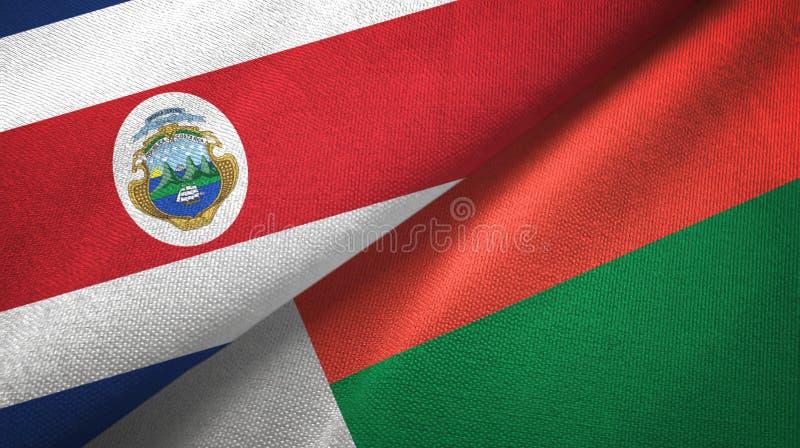 Torkduk f?r Costa Rica och Madagascar tv? flaggatextil, tygtextur stock illustrationer