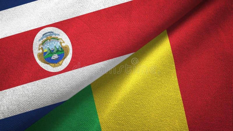 Torkduk f?r Costa Rica och Mali tv? flaggatextil, tygtextur stock illustrationer