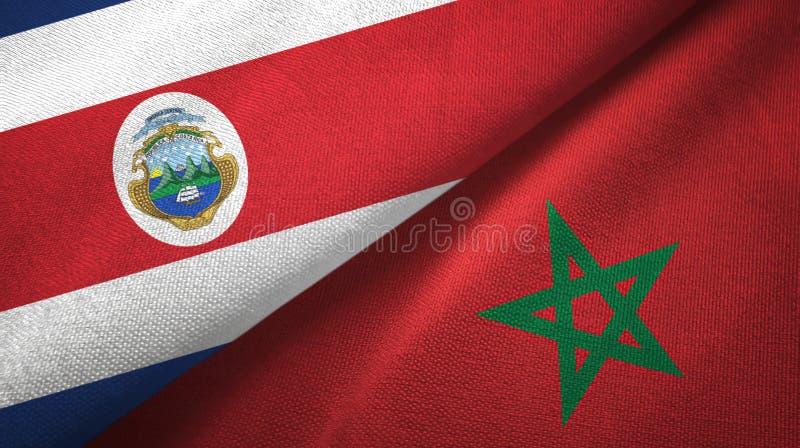 Torkduk f?r Costa Rica och Marocko tv? flaggatextil, tygtextur royaltyfri illustrationer