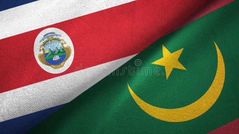 Torkduk f?r Costa Rica och Mauretanien tv? flaggatextil, tygtextur vektor illustrationer