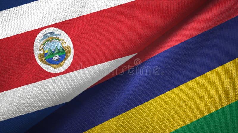 Torkduk f?r Costa Rica och Mauritius tv? flaggatextil, tygtextur stock illustrationer
