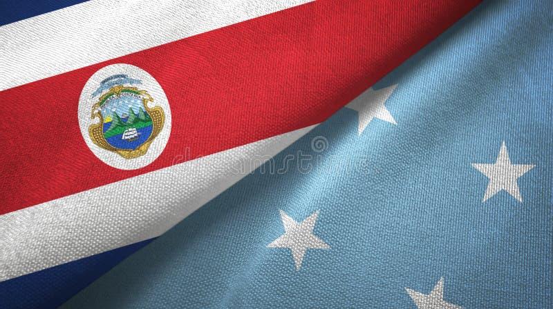 Torkduk f?r Costa Rica och Mikronesien tv? flaggatextil, tygtextur stock illustrationer