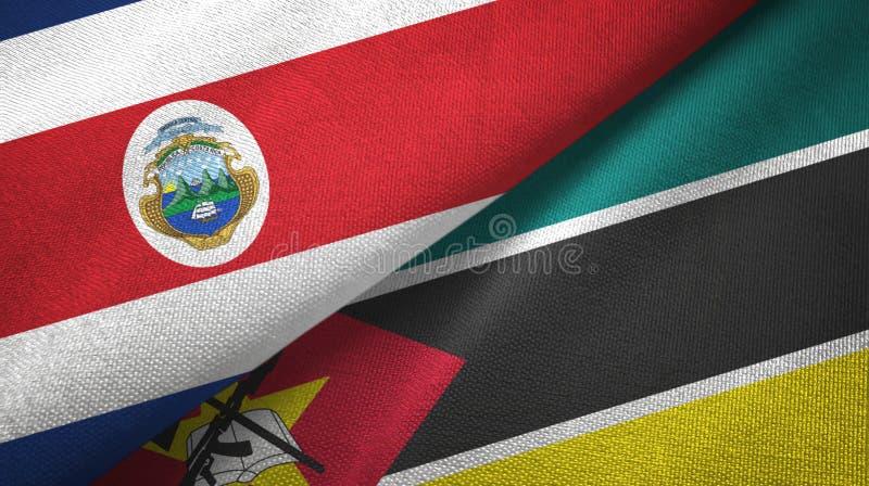 Torkduk f?r Costa Rica och Mocambique tv? flaggatextil, tygtextur royaltyfri illustrationer