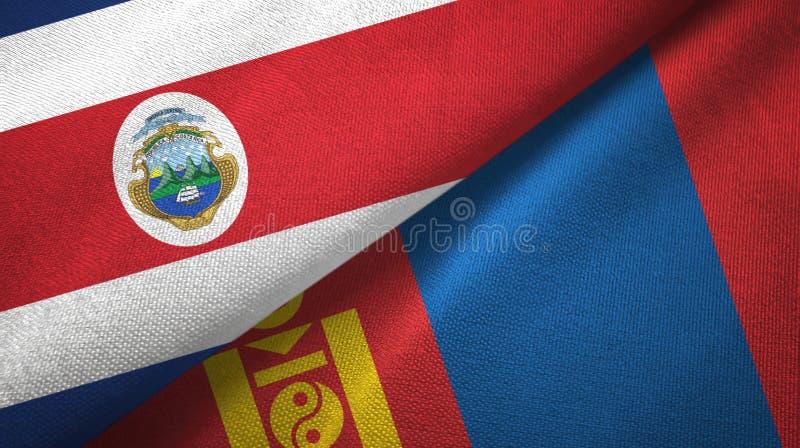 Torkduk f?r Costa Rica och Mongoliet tv? flaggatextil, tygtextur vektor illustrationer