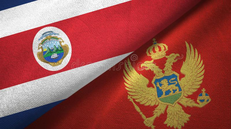 Torkduk f?r Costa Rica och Montenegro tv? flaggatextil, tygtextur royaltyfri illustrationer
