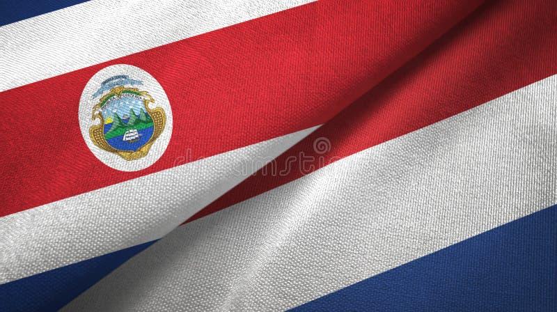 Torkduk f?r Costa Rica och f?r Nederl?nderna tv? flaggatextil, tygtextur stock illustrationer