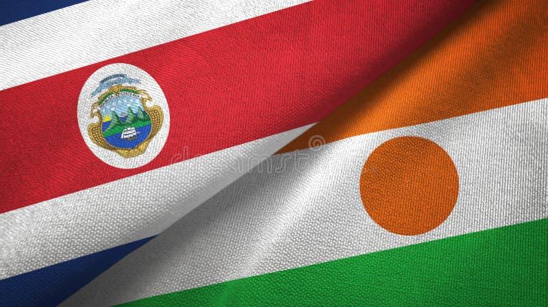 Torkduk f?r Costa Rica och Niger tv? flaggatextil, tygtextur vektor illustrationer