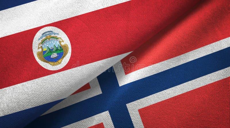 Torkduk f?r Costa Rica och Norge tv? flaggatextil, tygtextur vektor illustrationer