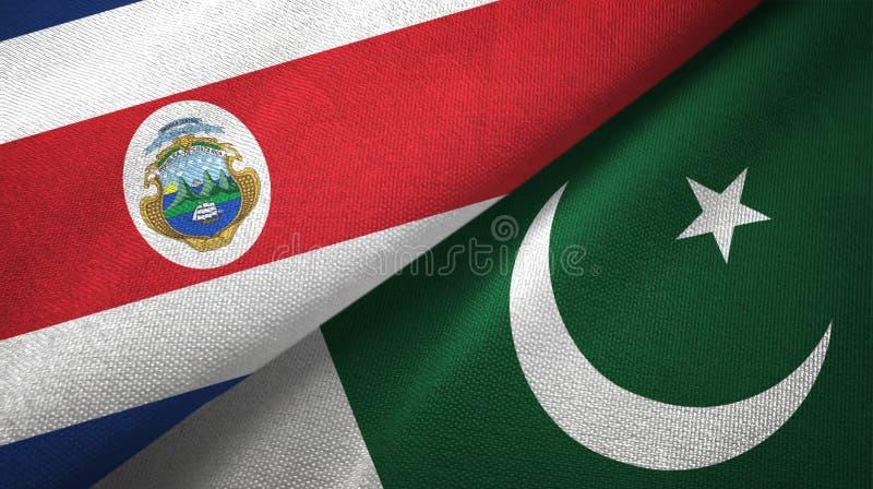 Torkduk f?r Costa Rica och Pakistan tv? flaggatextil, tygtextur stock illustrationer