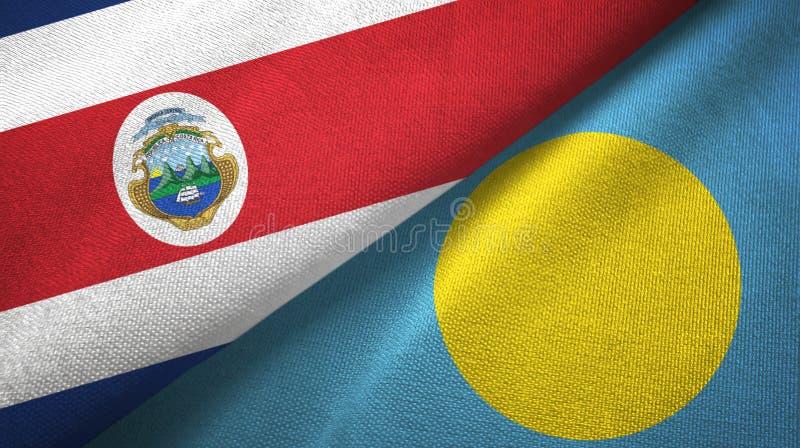 Torkduk f?r Costa Rica och Palau tv? flaggatextil, tygtextur vektor illustrationer