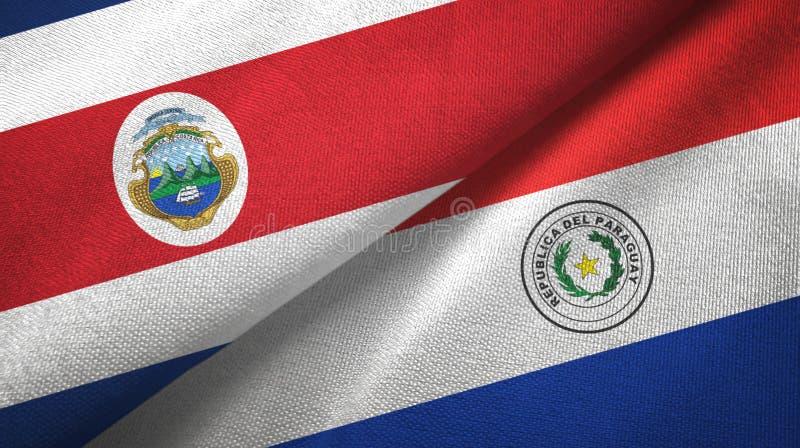 Torkduk f?r Costa Rica och Paraguay tv? flaggatextil, tygtextur stock illustrationer