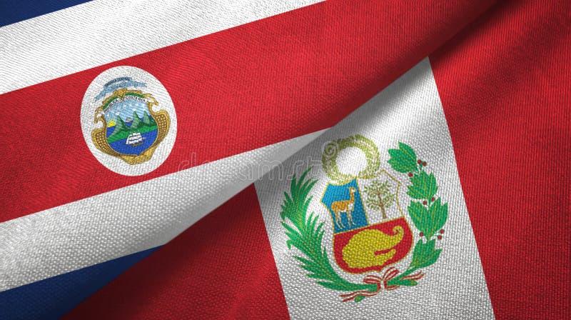 Torkduk f?r Costa Rica och Peru tv? flaggatextil, tygtextur stock illustrationer