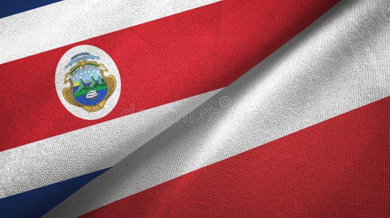 Torkduk f?r Costa Rica och Polen tv? flaggatextil, tygtextur stock illustrationer