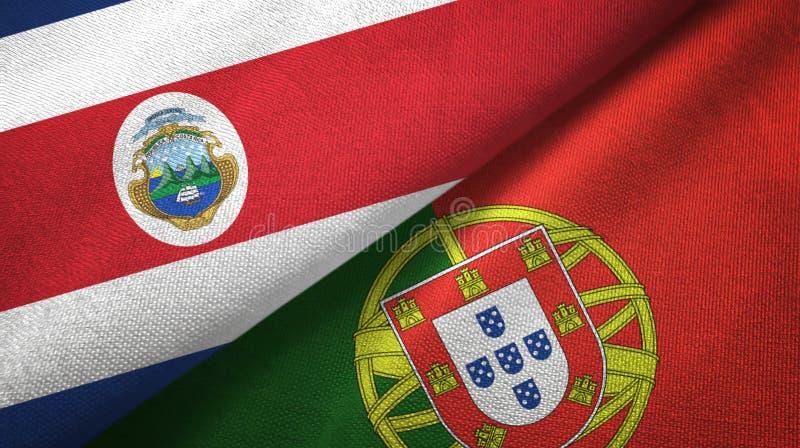 Torkduk f?r Costa Rica och Portugal tv? flaggatextil, tygtextur royaltyfri illustrationer