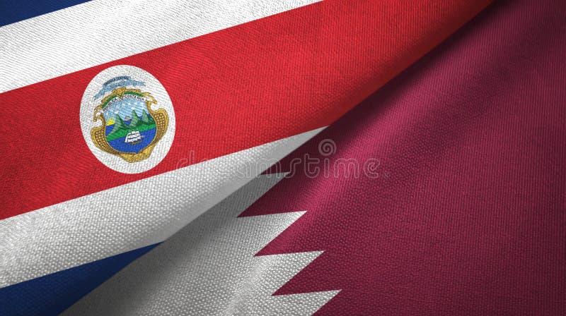 Torkduk f?r Costa Rica och Qatar tv? flaggatextil, tygtextur stock illustrationer