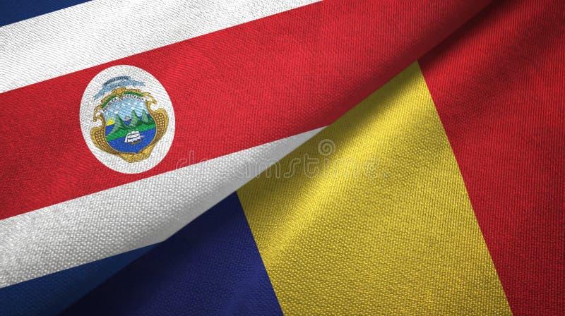 Torkduk f?r Costa Rica och Rum?nien tv? flaggatextil, tygtextur stock illustrationer
