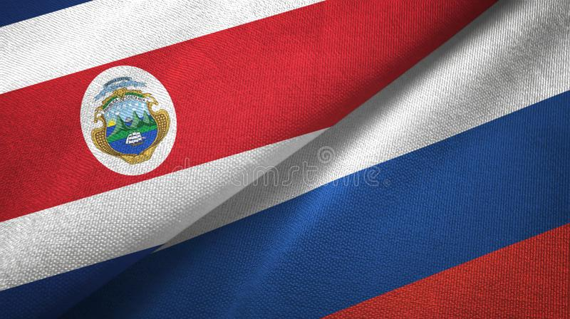 Torkduk f?r Costa Rica och Ryssland tv? flaggatextil, tygtextur stock illustrationer